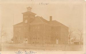 Yates Center KS 9:00 AM~New Day to Learn~Italianate High School~Cupola RPPC 1912