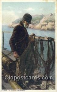 Shore Fisherman  Postcard Post Cards Old Vintage Antique Postcard, Post Card ...