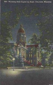 Wyoming Cheyenne Wyoming State Capitol By Night