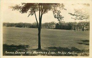 Fort Des Moines Iowa Parade Grounds Barracks 1940s RPPC Photo Postcard 21-6871
