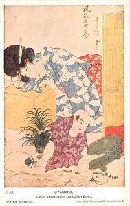 Child upsetting a Godl Fish Bowl Utamaro Japan Unused