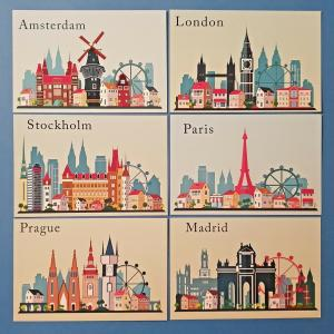 Set of 6 European City Skyline Ilustrations, Landmarks, Landscape, View, Travel