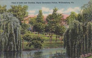 View Of Lake And Gardens Royal Governors Palace Williamsburg Virginia