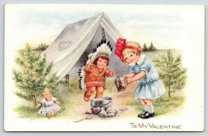Valentine~Kids Cook Fire~Tent Camp~Boy Dressed as Indian~Girl Doll~Whitney Made