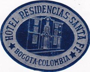Colombia Bogota Hotel Residencias Santa Fe Vintage Luggage Label sk1844