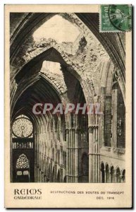 Old Postcard Reims Cathedral Destruction vaults of the transept