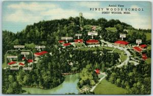 1940s Mississippi Postcard PINEY WOODS SCHOOL Bird's-Eye View Linen Unused