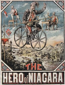 The Hero Of Niagara Bicycle Stuntman Circus Repro Poster Postcard