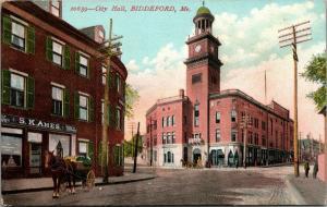 Biddeford Maine~City Hall~SK Ames Store~Teas & Coffees~Horse Buggy~1910 Postcard