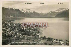 Old Postcard Vevey general view Dents du Midi and Dents de Morcles from Mt Pe...