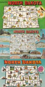 North Dakota 3x Map Postcard s