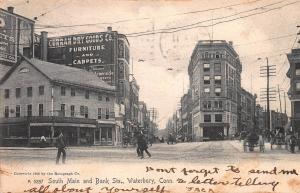 South Main and Bank St., Waterbury, Connecticut, early postcard, Used in 1907