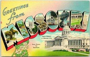 1940s MISSOURI Large Letter Postcard State Capitol & Flower Tichnor Linen Unused