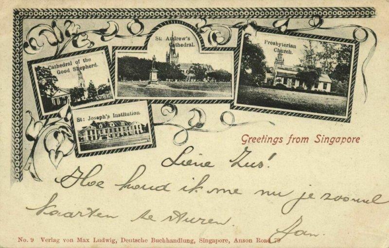 straits settlements, SINGAPORE, Art Nouveau Multiview, Cathedral, Church (1903)