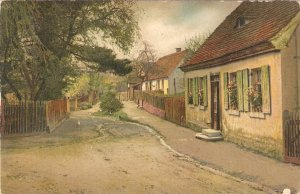 A rural village street  Fine art, viontage Swiss Postcard