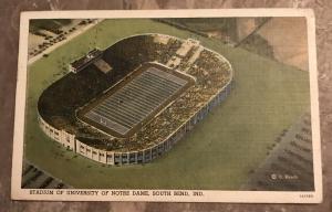 Stadium of University of Notre Dame Linen Postcard