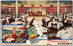 New York City Postcard ZIMMERMAN'S HUNGARIA Restaurant 46th Street Linen c1940s