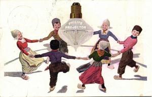 Advertising PHILIPS Projector Light Bulb Lightbulb, Dancing Dutch Costumes 1913