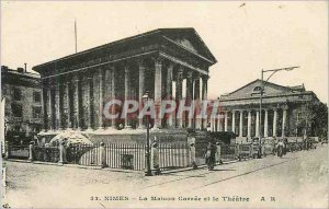 Postcard Old Nimes home the square house and theater