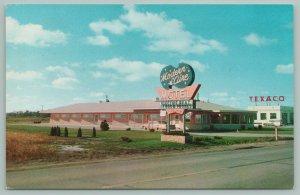 Fremont Nebraska~Modern Aire Motel~Texaco Station~Neon Signs~'53 Car~1960s