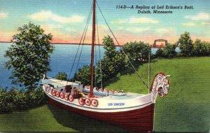 Minnesota Duluth Replica Of Leif Erikson's Boat 1949 Curteich
