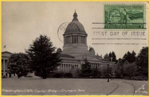 RPPC-Olympia, Wash. State Capitol-First Day of Issue-Washington Territory-1953