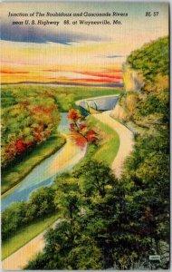 Waynesville, Missouri ROUTE 66 Postcard Rubidoux & Gasconde Rivers / Linen 1940s
