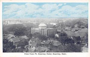 Kearney Nebraska~City Panorama From Ft Kearney Hotel~1920s Blue Sky Postcard