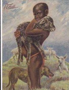 Young South African boy holding a lamb in South Africa, 1930-1940s, AS by Kei...