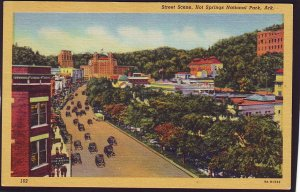 P1517 old unused postcard birds eye view street scene hot springs park arkansas