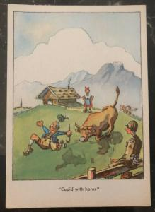 Mint USA PPC Picture Postcard GI Joe In Bavaria WW2 Cupid With Horns