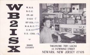 Radio QSL postcard , NEWARK , New Jersey , 1950-60s