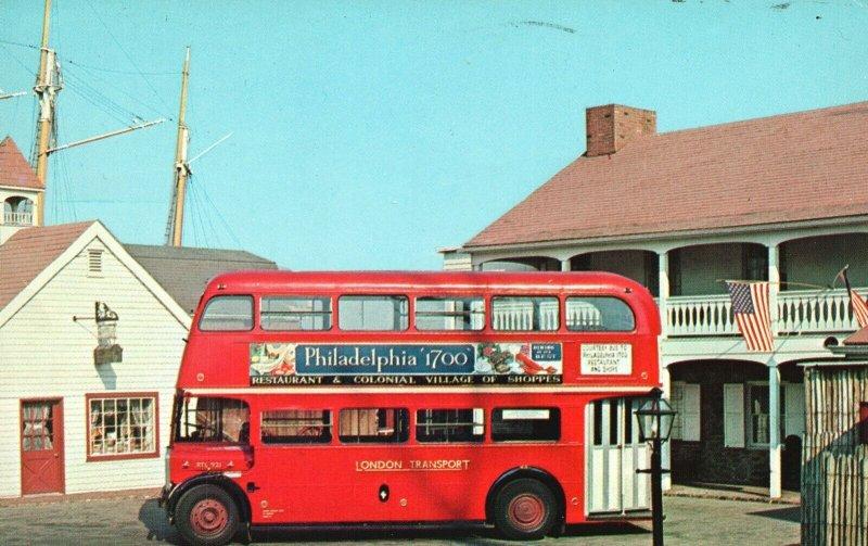 Vintage Postcard Ride The Red London Bus Center City Philadelphia Pennsylvania