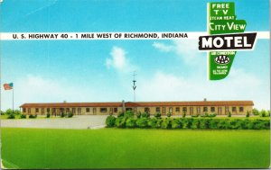 Postcard IN Indiana Richmond City View Motel US Highway 40 Unposted