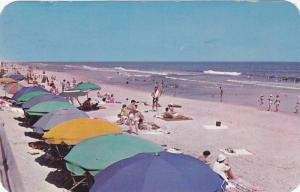 Beach Umbrellas, People Gathered Along The White Sandy Beach, Virginia Beach,...