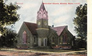 Kinsley Kansas~Methodist Church on Corner~Long Rail Hitching Post~1908 ZIM PC
