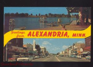 ALEXANDRIA MINNESOTA DOWNTOWN STREET SCENE 1960's CARS VINTAGE POSTCARD
