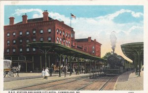 CUMBERLAND , Maryland , 1910-30s; B.& O. Railroad Station & Queen City Hotel