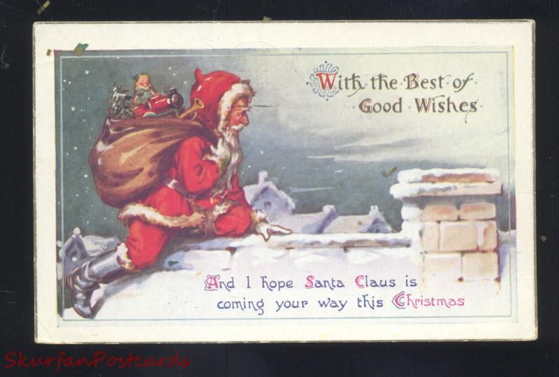 SANTA CLAUS RED ROBE ROOF TOP TOYS ANTIQUE VINTAGE POSTCARD