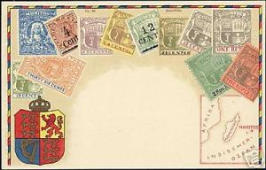 Mauritius Maurice STAMP Postcard, Coat of Arms, Map 10s