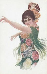 ART DECO ; Spaniard dancing Female wearing strapless floral gown, 1910-20s