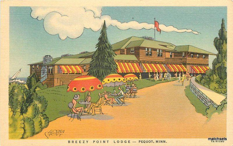 1940s Breezy Point Lodge Pequot Minnesota Roadside Linen Teich postcard 8298