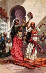 PC CPA ARABIAN TYPES AND SCENES, DANCING GIRLS, Vintage Postcard (b17446)