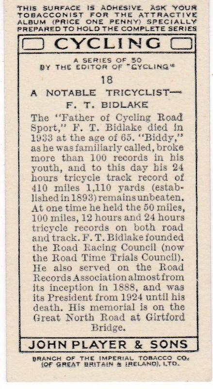 Cigarette Cards Players CYCLING No 18 A Notable Tricyclist – F. T. Bidlake