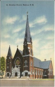 Saint Aloysius Church Nashua New Hampshire Gothic Cathedral Vintage Postcard