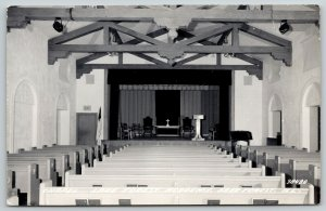 Lake Forest IL Christian Flag in Academy Chapel Interior~Small Lectern RPPC 1948