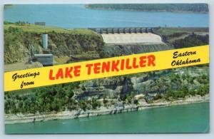 Postcard OK Banner Dual View Greetings From Lake Tenkiller Oklahoma Vintage P5