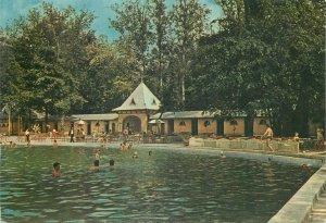 Hungary Postkarte Harkanyfurdo spa resort outside swimming pool