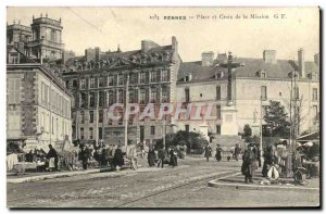 Old Postcard Rennes Place and Cross Mission Walk bonen Animation