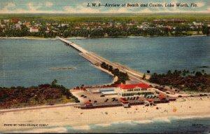 Florida Lake Worth Aerial View Of Beach and Casino 1947 Curteich